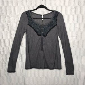 NWT Free People Waffle Thermal Henley Long Sleeve